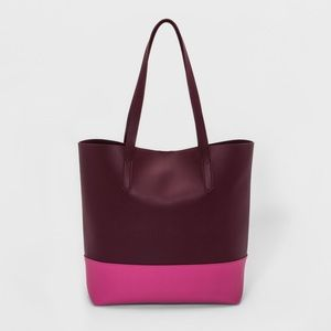 A New Day Burgundy Pink Color block Tote